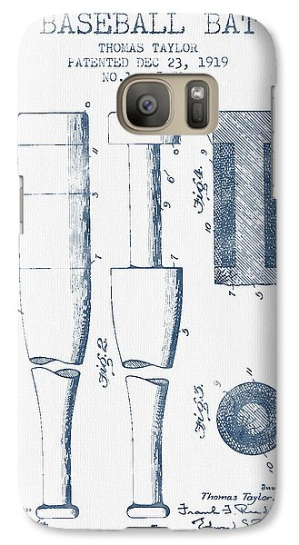 Baseball Bat Patent From 1919 - Blue Ink Galaxy S7 Case