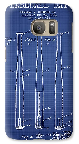 Softball Galaxy S7 Case - Baseball Bat Patent From 1924 - Blueprint by Aged Pixel