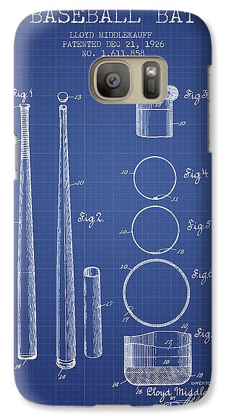 Softball Galaxy S7 Case - Baseball Bat Patent From 1926 - Blueprint by Aged Pixel