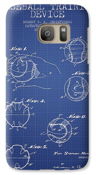 Softball Galaxy S7 Case - Baseball Cover Patent From 1963- Blueprint by Aged Pixel