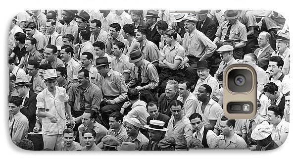Baseball Fans In The Bleachers At Yankee Stadium. Galaxy S7 Case by Underwood Archives