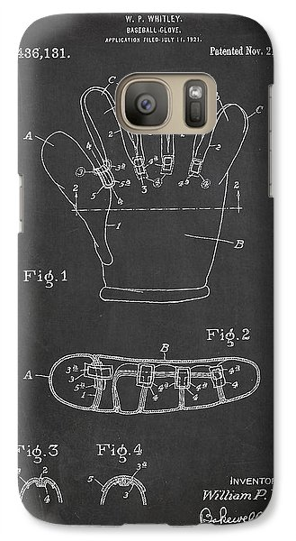 Softball Galaxy S7 Case - Baseball Glove Patent Drawing From 1922 by Aged Pixel