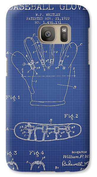 Softball Galaxy S7 Case - Baseball Glove Patent From 1922 - Blueprint by Aged Pixel