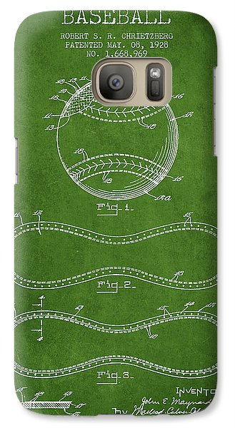 Softball Galaxy S7 Case - Baseball Patent Drawing From 1928 by Aged Pixel