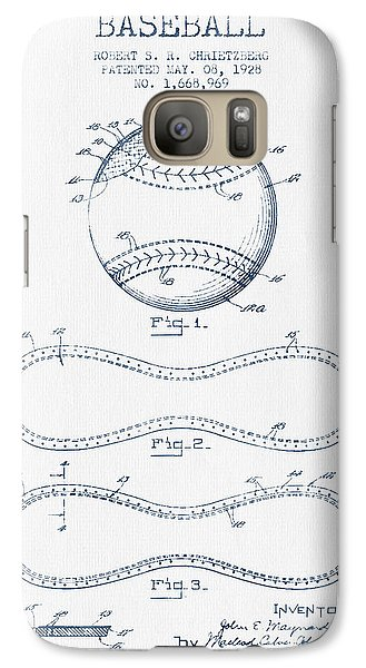 Baseball Patent Drawing From 1928 - Blue Ink Galaxy S7 Case