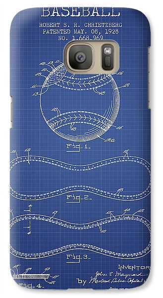 Softball Galaxy S7 Case - Baseball Patent From 1928 - Blueprint by Aged Pixel
