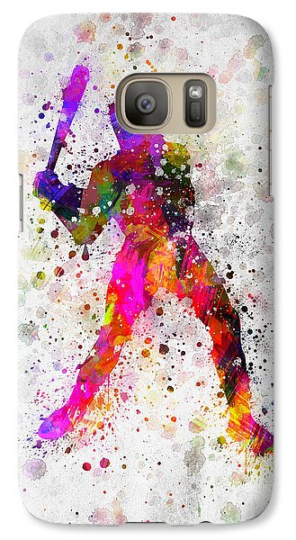 Softball Galaxy S7 Case - Baseball Player - Holding Baseball Bat by Aged Pixel