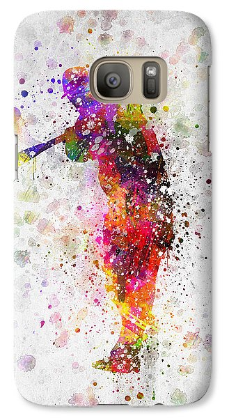 Baseball Player - Taking A Swing Galaxy S7 Case by Aged Pixel