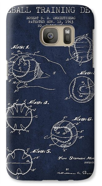 Softball Galaxy S7 Case - Baseball Training Device Patent Drawing From 1963 by Aged Pixel