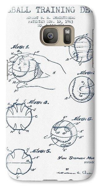 Baseball Training Device Patent Drawing From 1963 - Blue Ink Galaxy S7 Case by Aged Pixel