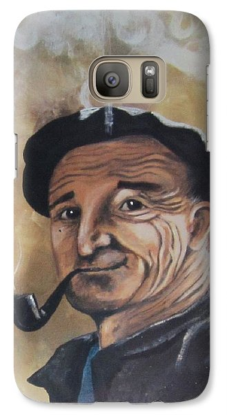Galaxy Case featuring the painting Basque Man With Pipe by Cathy Long