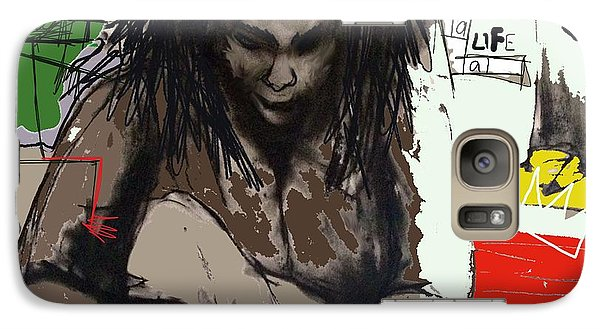 Galaxy Case featuring the drawing Basquiat by Helen Syron
