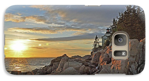 Galaxy Case featuring the photograph Bass Harbor Lighthouse Sunset Landscape by Glenn Gordon