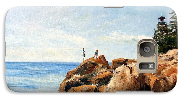 Galaxy Case featuring the painting Bass Harbor Rocks by Lee Piper