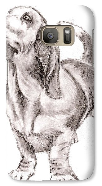 Galaxy Case featuring the drawing Basset Hound Dog by Nan Wright