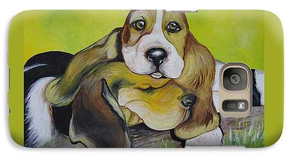 Galaxy Case featuring the painting Bassett Hound Pups by Leslie Manley