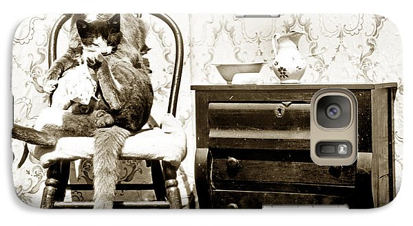 Galaxy Case featuring the photograph Bath Time For Kitty Circa 1900 Historical Photos by California Views Mr Pat Hathaway Archives