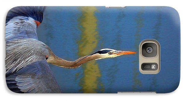 Bay Blue Heron Flight Galaxy Case by Robert Bynum