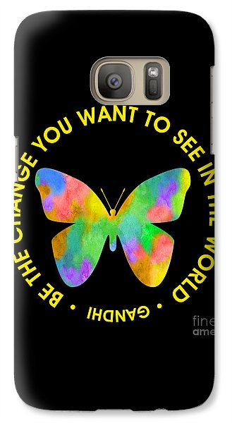 Galaxy Case featuring the digital art Be The Change - Butterfly In Circle by Ginny Gaura