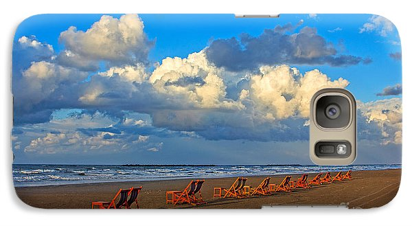 Galaxy Case featuring the photograph Beach And Chairs With Cloudy Sky by Mohamed Elkhamisy