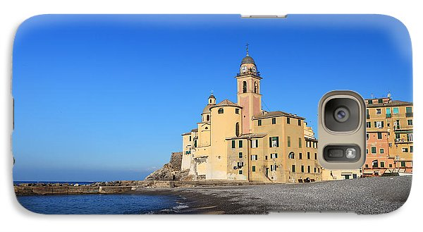 Galaxy Case featuring the photograph beach and church in Camogli by Antonio Scarpi