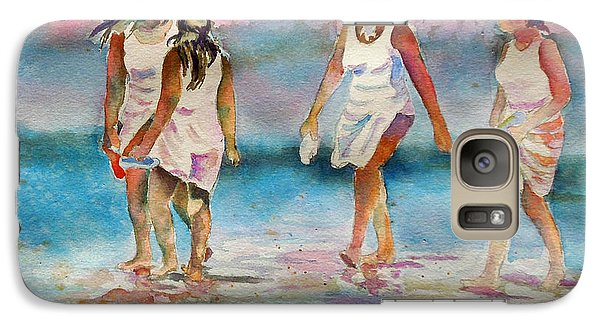 Galaxy Case featuring the painting Beach Fun by Mary Haley-Rocks