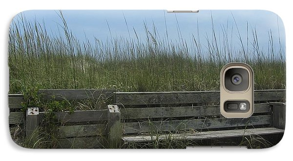 Galaxy Case featuring the photograph Beach Grass And Bench  by Cathy Lindsey