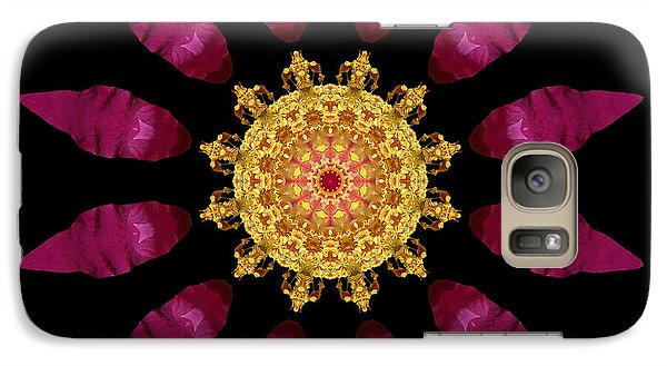 Galaxy Case featuring the photograph Beach Rose Iv Flower Mandala by David J Bookbinder
