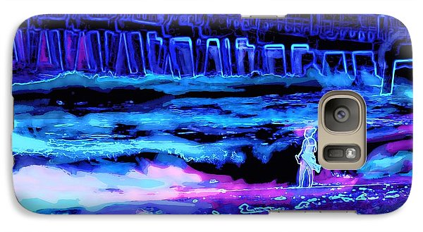 Galaxy Case featuring the painting Beach Scene At Night by David Mckinney