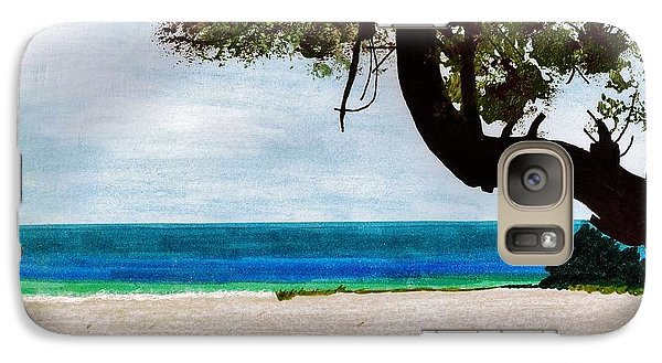 Galaxy Case featuring the drawing Beach Side by D Hackett