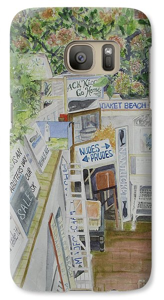 Galaxy Case featuring the painting Beach Signs by Carol Flagg