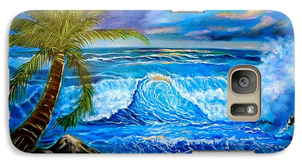 Galaxy Case featuring the painting Beach Sunset In Hawaii by Jenny Lee