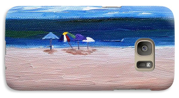 Galaxy Case featuring the painting Beach Umbrellas by Jamie Frier