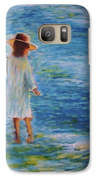 Galaxy Case featuring the painting Beach Walker by John Scates