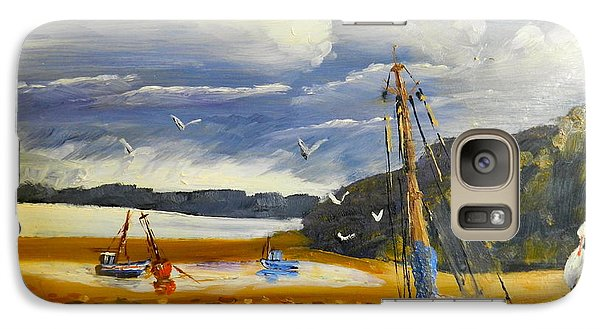 Galaxy Case featuring the painting Beached Boat And Fishing Boat At Gippsland Lake by Pamela  Meredith