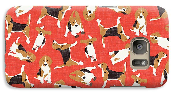 Beagle Scatter Coral Red Galaxy S7 Case by Sharon Turner