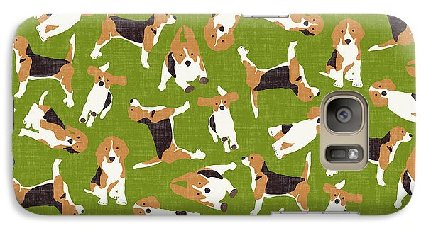 Beagle Scatter Green Galaxy Case by Sharon Turner