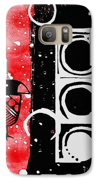 Galaxy Case featuring the painting Beak In Red And Black by Cynthia Lagoudakis