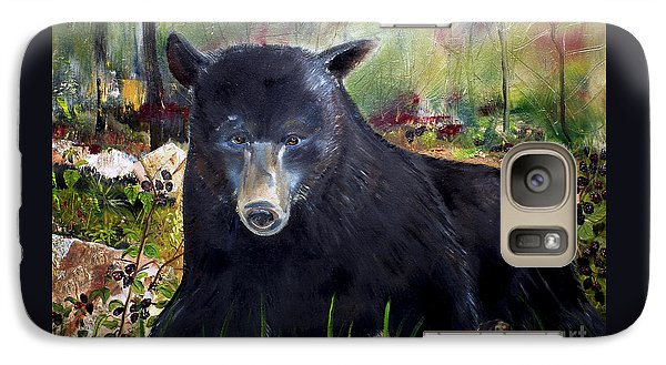 Galaxy Case featuring the painting Bear Painting - Blackberry Patch - Wildlife by Jan Dappen