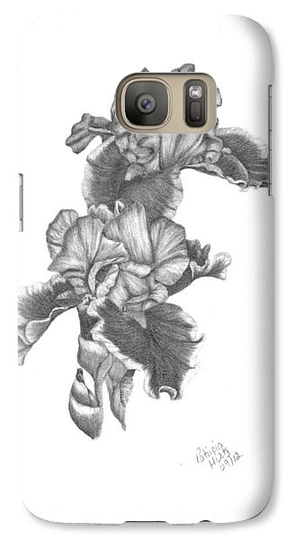 Galaxy Case featuring the drawing Bearded Irises by Patricia Hiltz