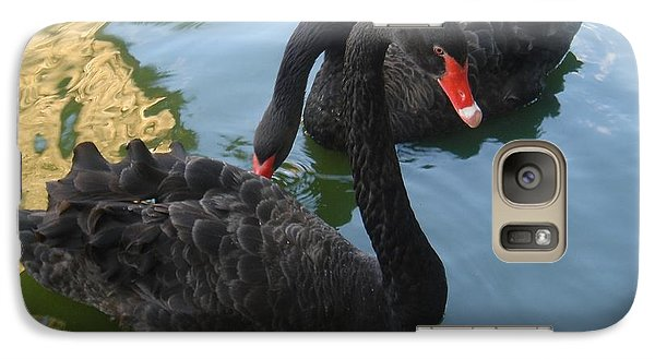 Galaxy Case featuring the photograph Beautiful Black Swans by Carla Carson