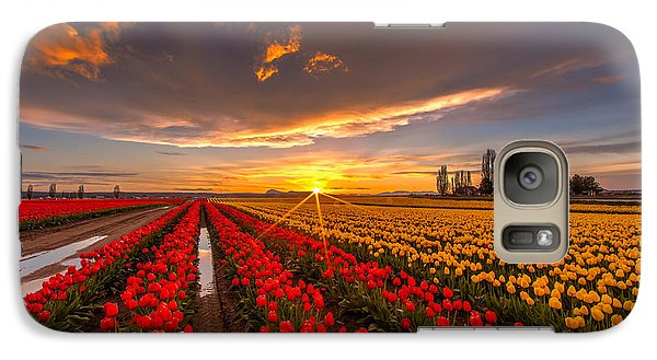 Beautiful Tulip Field Sunset Galaxy Case by Mike Reid