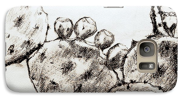 Galaxy Case featuring the drawing Beavertail Cactus Charcoal by Antonia Citrino