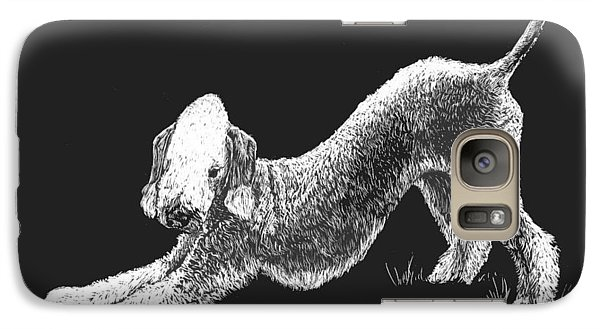 Galaxy Case featuring the drawing Bedlington Terrier by Rachel Hames