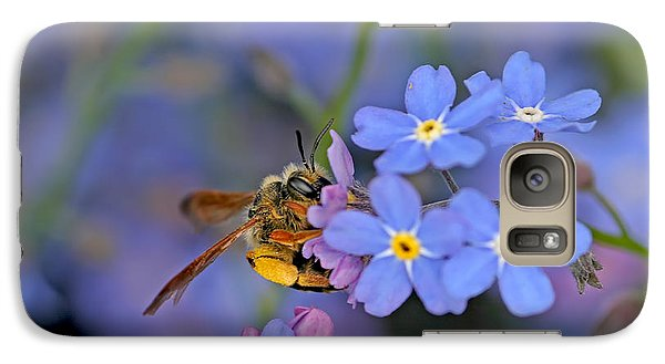 Galaxy Case featuring the photograph Bee And Forget-me-nots by Peggy Collins