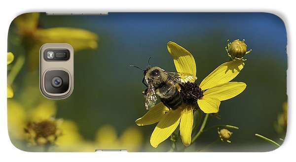 Galaxy Case featuring the photograph Bee Good - Bee On Yellow Wildflowers by Jane Eleanor Nicholas