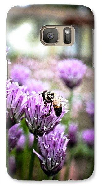 Galaxy Case featuring the photograph Bee In The Chives by Joel Loftus