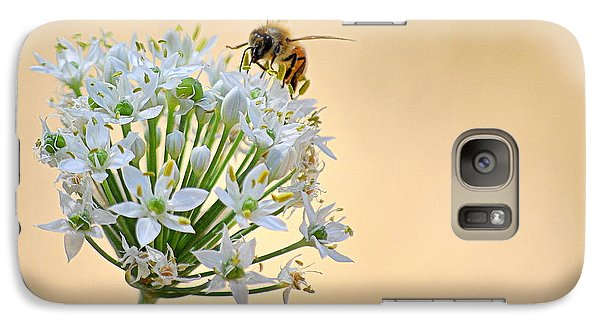 Galaxy Case featuring the photograph Bee In The Garlic Chives by AJ  Schibig