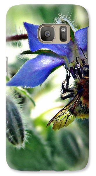 Galaxy Case featuring the photograph Bee On Borage by Morag Bates