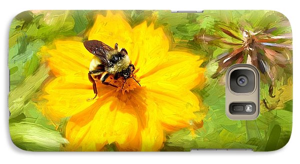 Galaxy Case featuring the photograph Bee On Flower Painting by Ludwig Keck